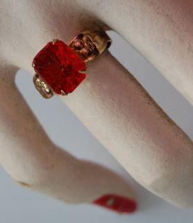 Vintage Antique Jewelry Girls Toy Ring Adjustable Red Rhinestone Glass