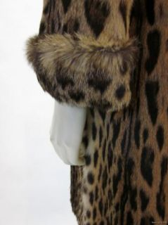 Giuliana Teso Leopard Print Fur w Leather Waist Jacket Coat Sz 40 4