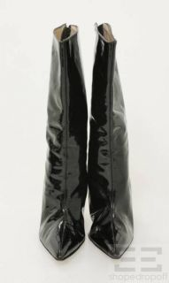 Givenchy Black Patent Leather Pointed Toe Mid Calf Boots Size 40 5
