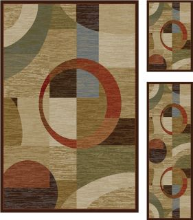 Piece Set Combo Modern Shape Geometric Area Rug New