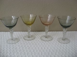 VINTAGE DEPRESSION GLASS WATER WINE GLASSES GOBLETS WITH TWISTED