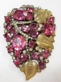 ANTIQUE VINTAGE ART DECO PINK RHINESTONE W GOLD LEAVES DRESS FUR CLIP