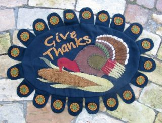 Thanksgiving Fall Felt Table Mat Runner Turkey Hooked Penny Rug