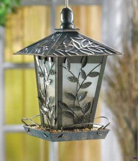 Vine Design Gazebo Iron Glass Bird Feeder