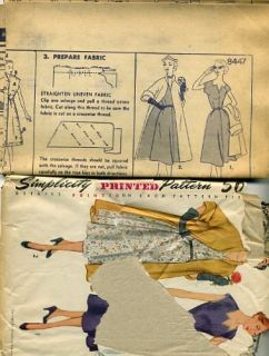 Vintage SEWING PATTERN Stylish 1950s Womens DRESS & LINED SWING COAT