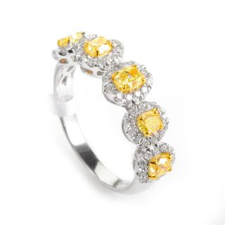 Dazzling 18K White Yellow Gold Diamond Band Ring
