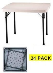 24 Pack Lifetime White Granite Square Folding Tables