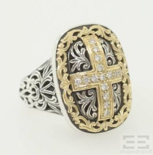 Sterling Silver 18K Yellow Gold Diamond Cross Ring Size 6 25