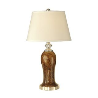 Dale Tiffany 26 One Light Table Lamp with Fabric Shade in Polished