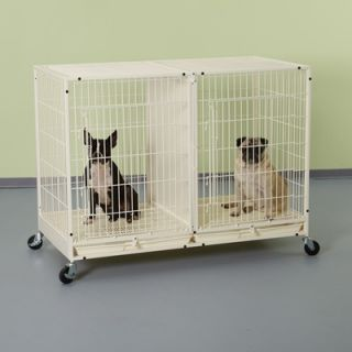 Pet Studio Modular Dog Cage with Plastic Tray in Ivory