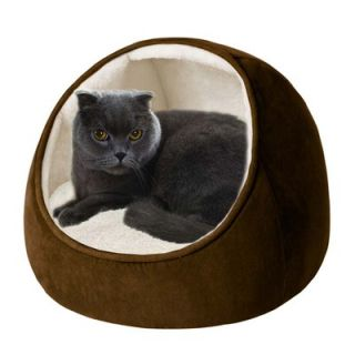 Soft Touch Hooded Snuggler Cat Bed with Cushion in Brown / Ivory