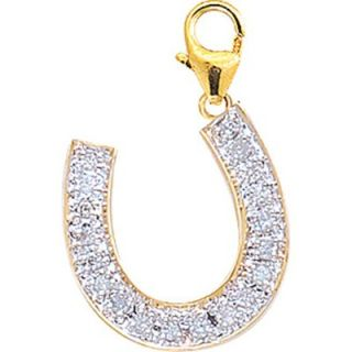 EZ Charms 14K Yellow Gold Diamond Horseshoe Charm