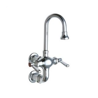 Chicago Faucets Manual Wall Mount Sink Faucet with Gooseneck Spout and