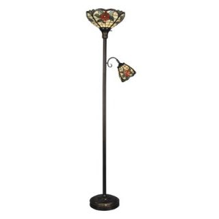 Dale Tiffany Two Light Torchiere with Side Lamp in Antique Golden Sand