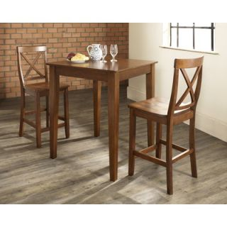 Three Piece Pub Dining Set with Tapered Leg Table and X Back Barstools