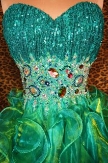 SEA GREEN HIGH LOW PROM HOMECOMING FORMAL EVENING PAGEANT GOWN DRESS M