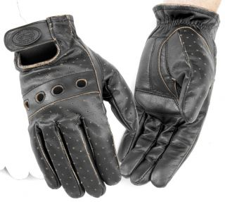 River Road Outlaw Vintage Leather Harley Motorcycle Gloves