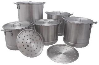 Set of 5 Heavy Duty Aluminum Stock Pots with Steamers Lids and Inserts