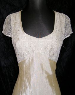 Helena Sorel Irridescent Beige Lace Trim Dress 40 New Embroidered Long