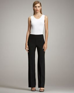 Armani Collezioni Sleeveless Stretch Jersey Top Top & Wide Leg Crepe
