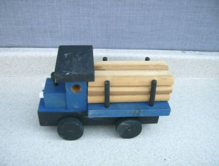 Vintage Hand Made Wood Wooden Toy Log Truck w 12 Logs