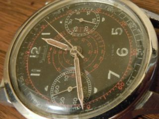Vintage Hanhart German Luftwaffe Pilot Military Red Chronograph WWII