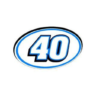 40 Number Jersey Nascar Racing   Blue   Window Bumper Sticker