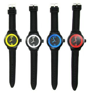 Geneva Watch Big Color Number Silicone Strap Watch Yellow  Black
