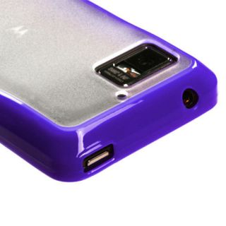 Purple TPU Gel Clear Hard Soft Candy Case Cover Motorola Droid Bionic
