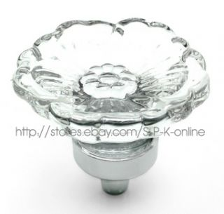 Flower Style Handles Clear Crystal Glass Drawer Cabinet Knobs New