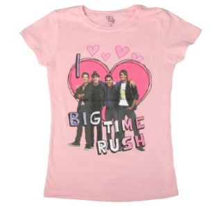 Freeze Girls Pink I Love Big Time Rush T Shirt Clothing