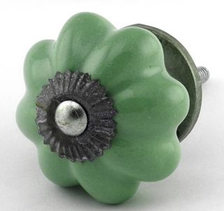 Green Ceramic Cabinet Knobs Vintage Drawer Pulls Furniture Handle G74Z