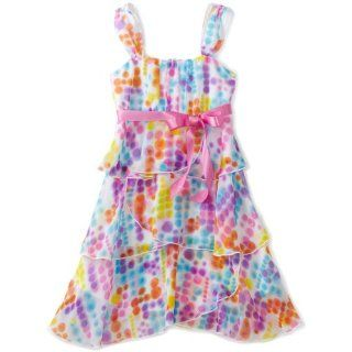 Girls 7 16 Print Chiffon Sleeveless Tier Dress, Multi, 16 Clothing