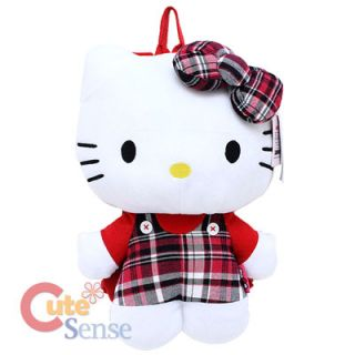 Sanrio Hello Kitty Plush Backpack Costumes Bag  Red checkered