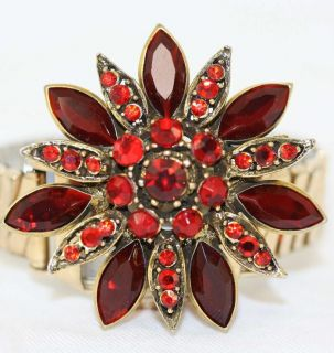Hollycraft Vintage Ruby Rhinestone Flower Brooch Pin