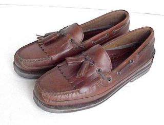 Vtg New Mens Bass Henry Brown Leather Loafers Boat Shoes Size 10M Made