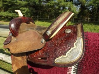 15 Seat Used Tex Tan Hereford Tooled & Roughout Western Barrel Racing