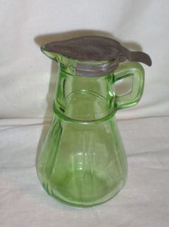 Vintage Hazel Atlas Green Glass Syrup Pitcher Metal Lid Depression
