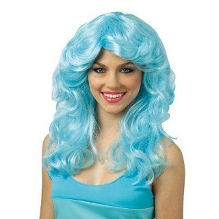 Crayola Sky Blue Layered Disco Costume Wig Adult Select