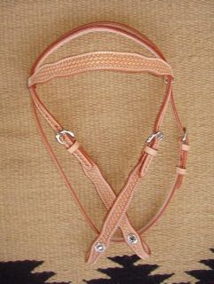 Headstall Bridle Show Basket Hand Tooled Leather Horse Tack Light Oil