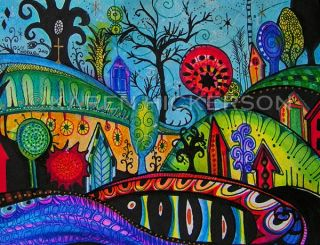 Karen Hickerson Landscape Houses Hills Trees Folk Art Abstract Print