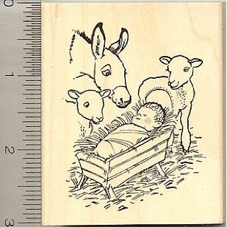 Christmas Nativity Rubber Stamp   Wood Mounted Arts