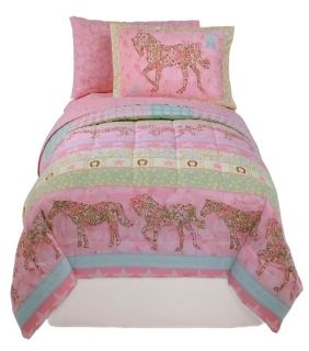 New Girls Pink Pony Horse Cowgirl Reversible Bedding Set Full