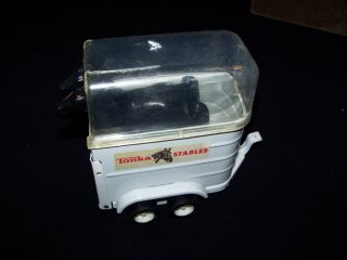 Tonka Pink Truck & Horse Trailer with 2 horses vintage 1970s metal toy