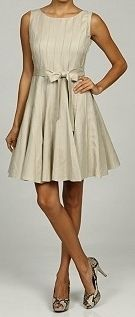 New Jessica Howard Womens Linen Blend Belt Tie Pintuck Dress Khaki