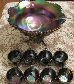 Fenton 9750CN Amethyst Carnival Glass Punch Bowl Set