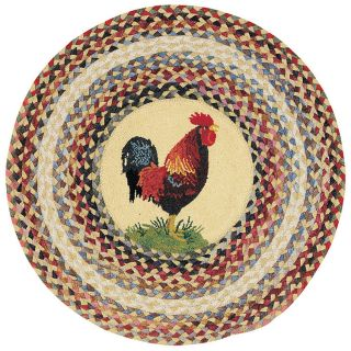 Capel Rugs Clarendon Rooster Round Braided Hooked Kitchen Throw Rug