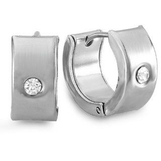 Stainless Steel Hip Hop Iced Mens Ladies Unisex Huggie Hoop Earrings