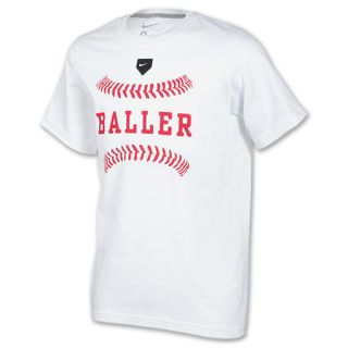 Kids Nike Baller Tee Shirt White/Dark Grey Heather