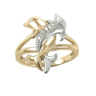 10k Two Tone Gold Diamond Accent Intertwined Dolphin Ring Jewelry